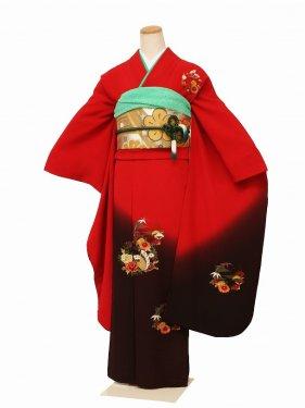 振袖2194振袖赤茶地刺繍紋裾こげ茶