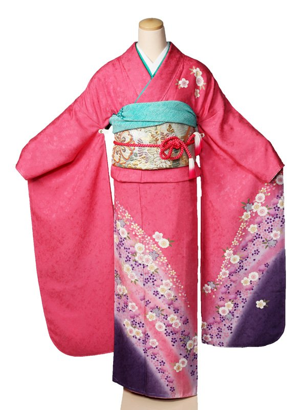 振袖2270振袖サーモンピンク裾紫花