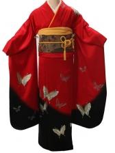 振袖2164振袖赤地裾黒蝶々