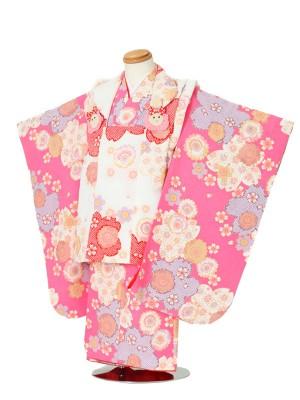 七五三(3女被布)3046 ピンク×白 花模様