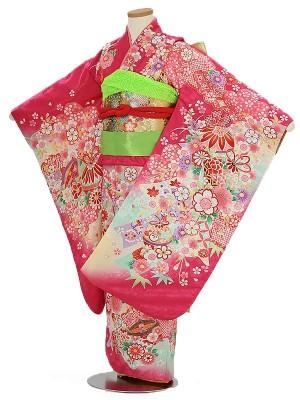 七五三(7女結び帯)7056 ピンク 鞠 花模様 花うさぎ