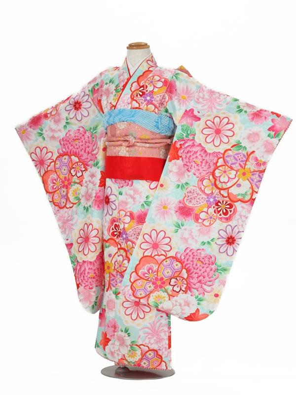 七五三(7女結び帯)7012 水色×ピンク 大輪菊/総柄
