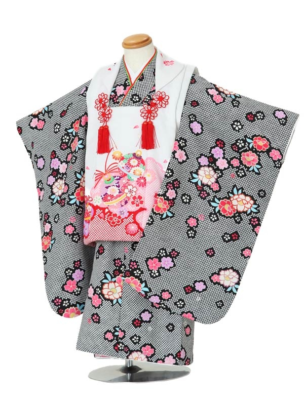 七五三(3女被布)3012 黒×ピンク白 絞り調/花模様