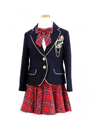 [女児スーツ]赤チェック柄スカート/HS01