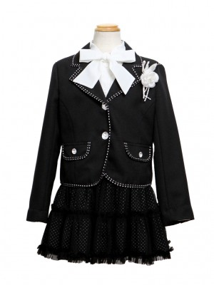 [女児スーツ]黒/ドット柄チュールスカートHS16