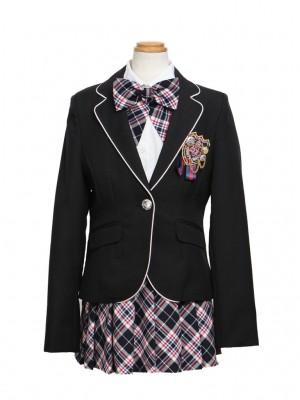 [女児スーツ]黒/タータンチェック柄スカート/HS11