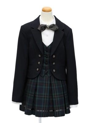 [女児スーツ]フェイクベスト付き格子スカート/HS22