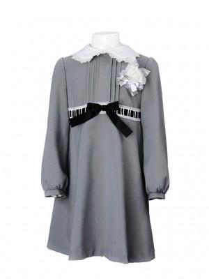 [女児スーツ]白襟グレーフォーマルワンピースHS09