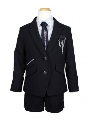 [女児スーツ]ショートパンツ/黒/ドット柄ブラウス/HS21