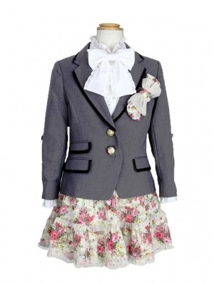 [女児スーツ]花柄ティアードスカート/HS07