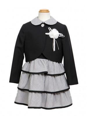 [女児スーツ]黒/ノースリーブフリルワンピースHS13