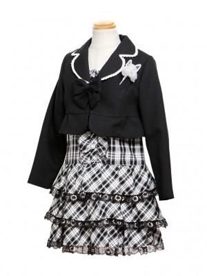 [女児スーツ]黒/レースティアードワンピースHS14