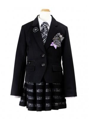 [女児スーツ]ロゴ地ボーダーチュールスカートHS05