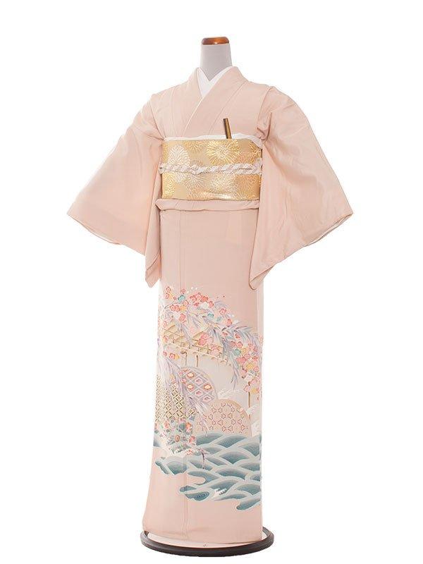 色留袖 12 ピンク/梅と波