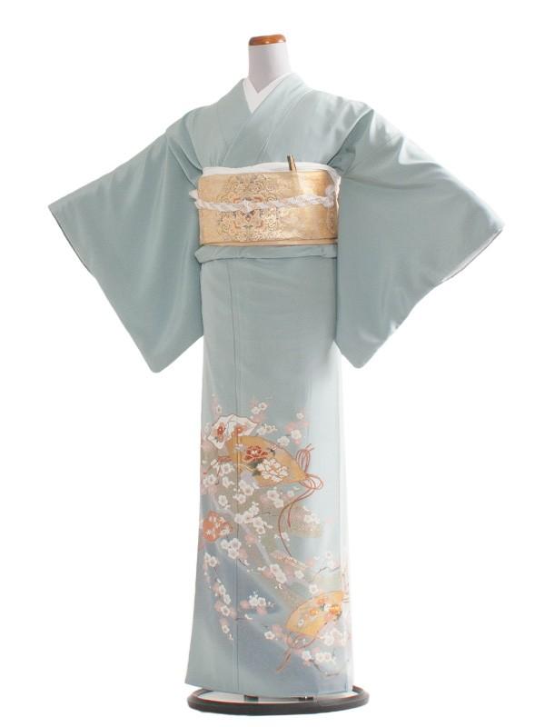 色留袖 32 ブルーグレー/花扇