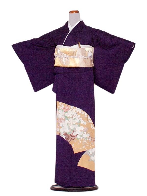 色留袖 34 青紫/花扇