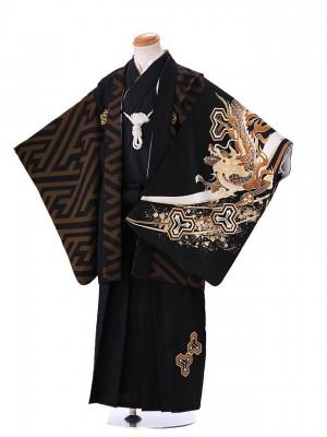 5歳 男袴 (七五三レンタル)G140 ドラゴン 黒
