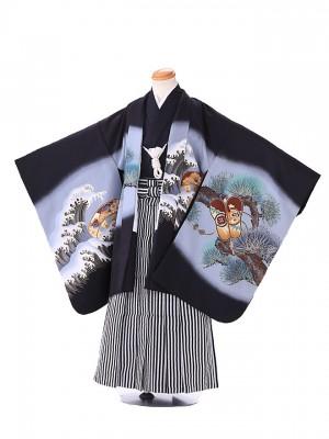 七五三レンタル(7歳 男袴)G112 黒 波軍配