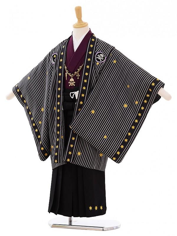 七五三(5歳男袴)G034 JAPANSTYLE 黒地 ストライプ星