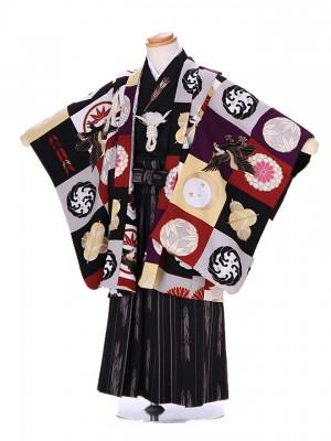 3歳 男袴 (七五三レンタル)G173 黒 japanstyle