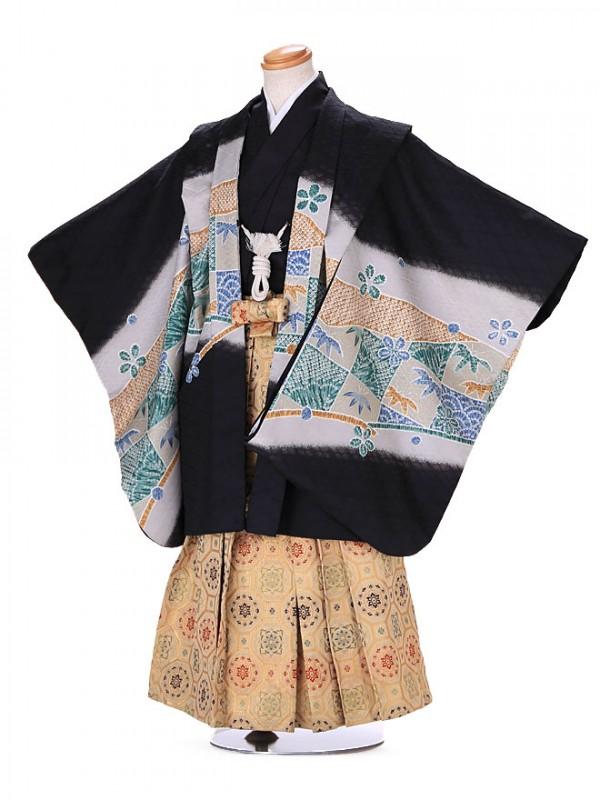 5歳 男袴 (七五三レンタル)G175 黒 鷹