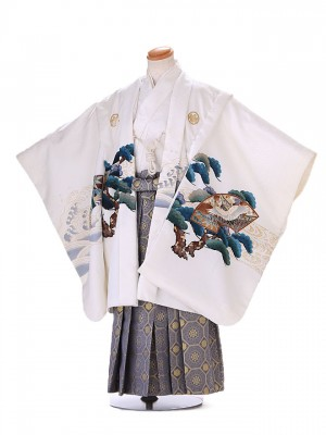5歳 男袴 (七五三レンタル)G129 白