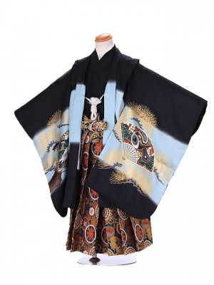 5歳 男袴 (七五三レンタル)G180 黒 鷹に扇子