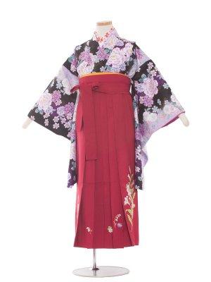小学生卒業袴レンタル(女の子)1343 黒紫花/ワイン袴85