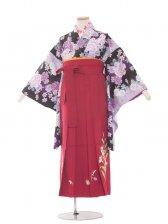 ジュニア(13女)jh1343 黒紫花/ワイン袴85
