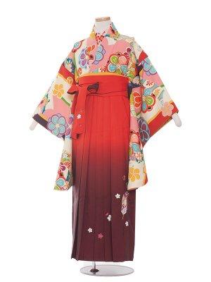 小学生卒業袴レンタル(女の子)1354 桃モダンレトロ/袴85