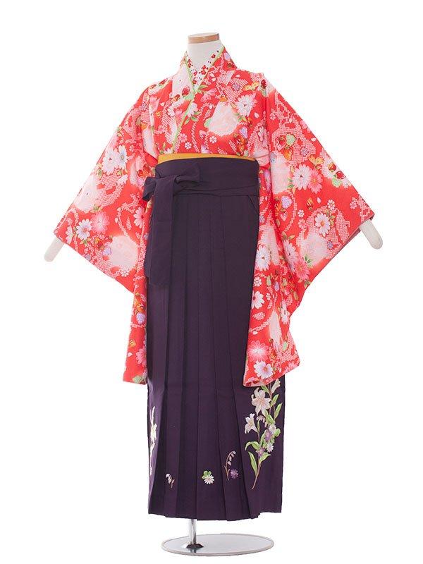 小学生卒業袴レンタル(女の子)1346 赤色小花/紫袴85