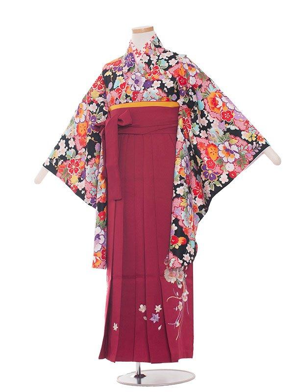 小学生卒業袴レンタル(女の子)1322黒小花/ワイン