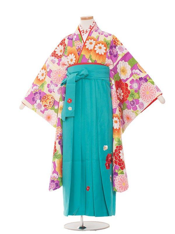 小学生卒業袴(女の子)1382紫の花ストライプ/小町