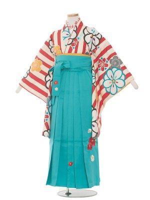 小学生卒業袴レンタル(女の子)1395赤のストライプに梅