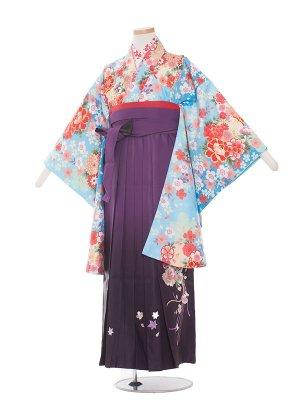 小学生卒業袴レンタル(女の子)1325水色花/紫ぼかし