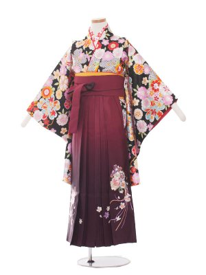 小学生卒業袴レンタル(女の子)1314黒の小花/ワイン