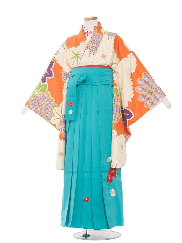 小学生卒業袴(女の子)1394オレンジのモダンレトロ