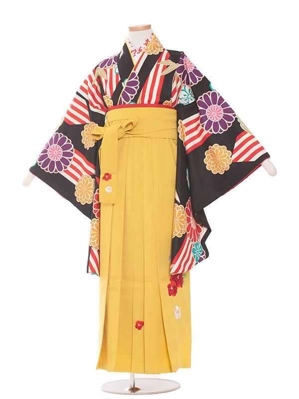小学生卒業袴(女の子)1387黒地のモダンレトロ