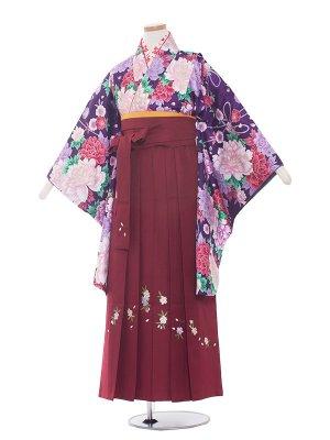小学生卒業袴レンタル(女の子)1310紫/エンジの