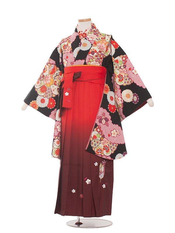 小学生卒業袴(女の子)1352 黒赤古典レトロ/袴87
