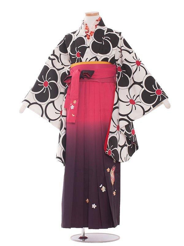小学生卒業袴(女の子)1364 黒梅/ピンク袴87