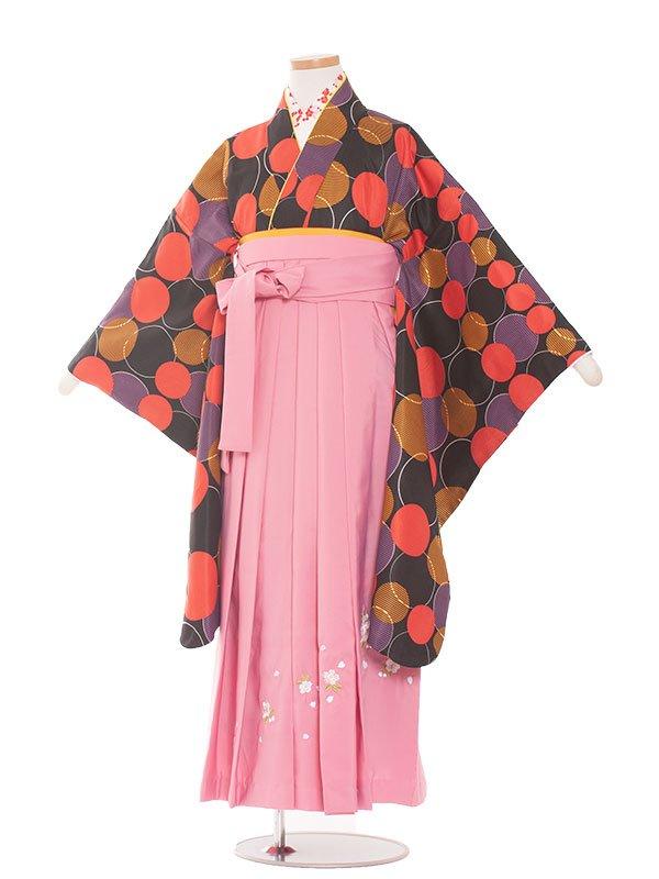 小学生卒業袴(女の子)1376黒地ドット柄×ピンク袴