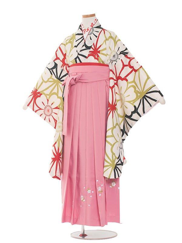 小学生卒業袴(女の子)1374白地梅×ピンク袴