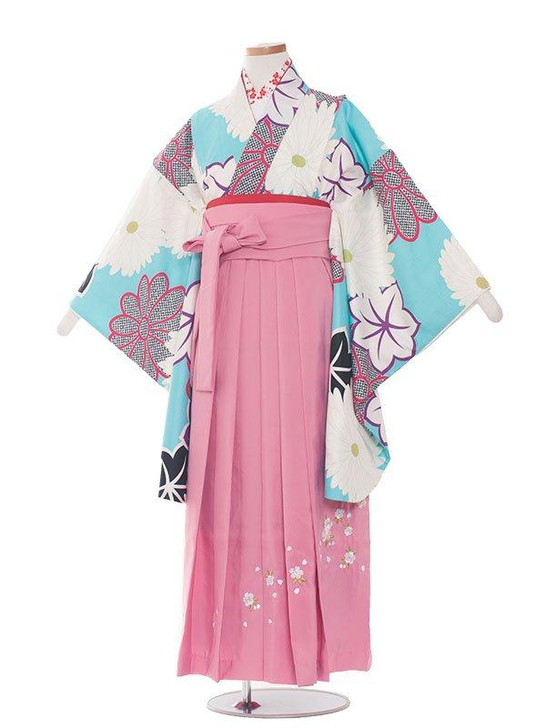 小学生卒業袴(女の子)1390水色のモダンレトロ