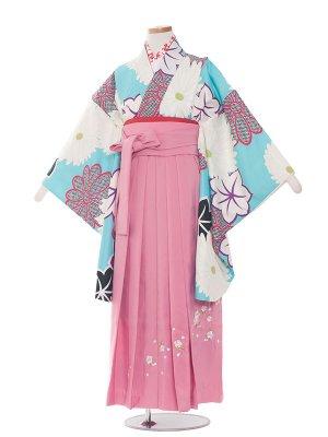 小学生卒業袴レンタル(女の子)1390水色のモダンレトロ
