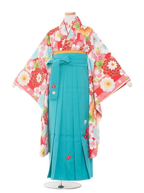 小学生卒業袴レンタル(女の子)1399ピンクの花矢絣/小町