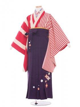 ジュニア(13女)jh1359 赤ストライプ/紫袴87