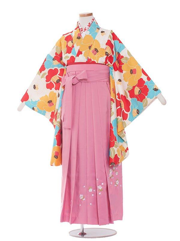 小学生卒業袴レンタル(女の子)1391水色系の椿