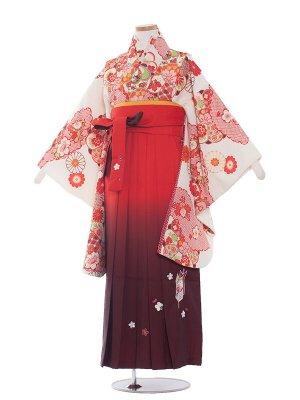 小学生卒業袴レンタル(女の子)1362 クリーム古典/橙袴87