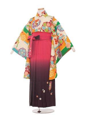 小学生卒業袴レンタル(女の子)1358 緑モダン/袴85